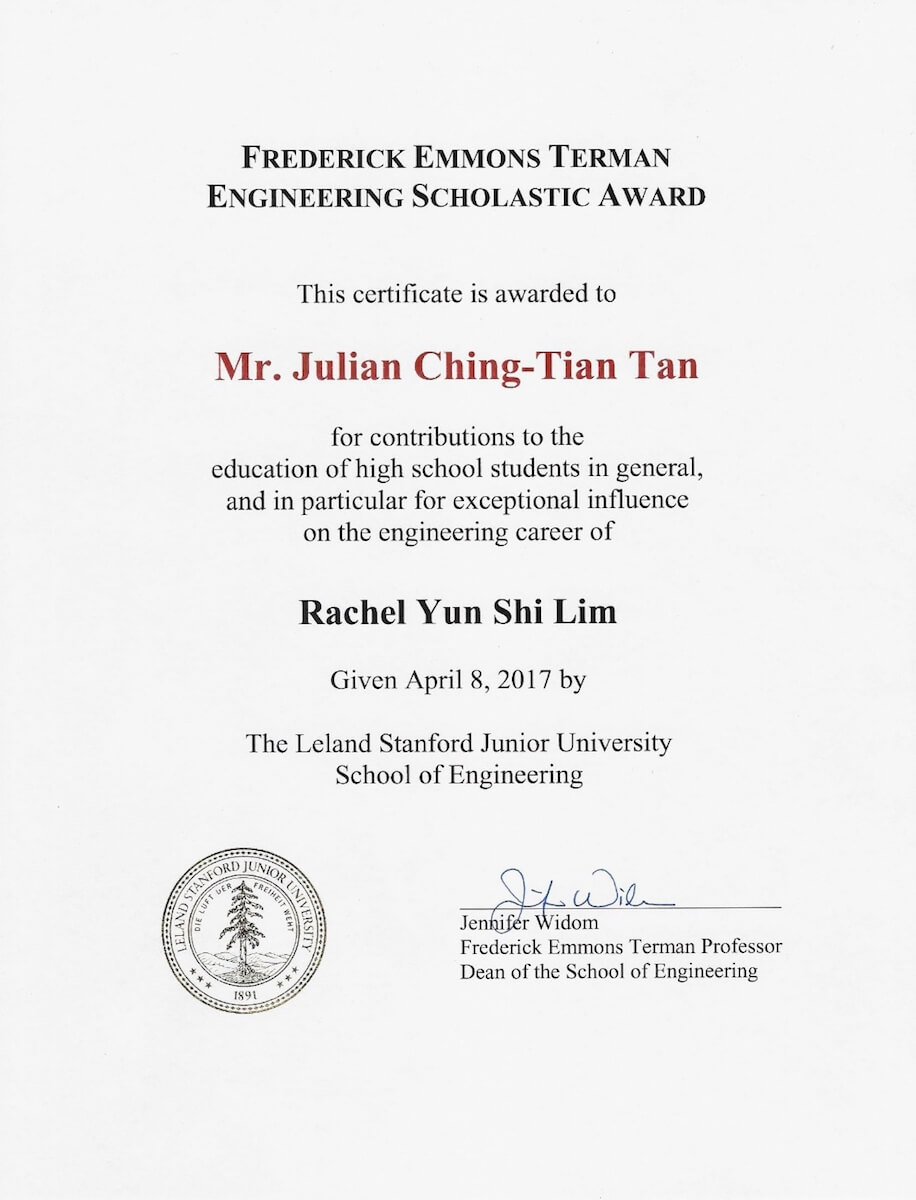 The Terman Award received by Mr Julian Chng Tian Tan, Chemistry Tutor